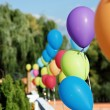 Vivid color balloons on greens outdoor - Stock Photo