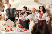 Ukrainian ethnic music band concert — Stock Photo