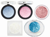 Five multicolored eyeshadows over white — Stock Photo