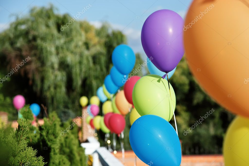Vivid color balloons on green outdoor background — Stock Photo #1092711
