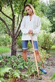 Promyšlené mladá žena s motyky pracovní — Stock fotografie
