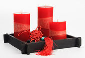 Chinese Fengshui set (talisman, red cand — Stock Photo