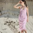 Lady in pink  sundress on sand quarry — 图库照片