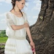 Barefooted beauty lady in white outdoor - Lizenzfreies Foto