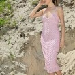 Lady in a pink sundress on sand quarry - Stock Photo