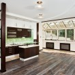 Modern drawing room and Kitchen interior - Stock Photo