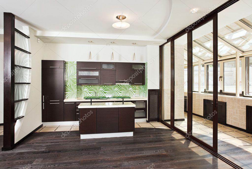 Modern kitchen interior with balcony stock photo for Balcony kitchen