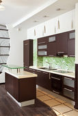 Modern Kitchen with hardwood furniture — Stock Photo