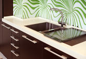 Part of modern Kitchen with Sink — Stock Photo