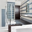 Modern bathroom in blue and gray tones — Stock Photo