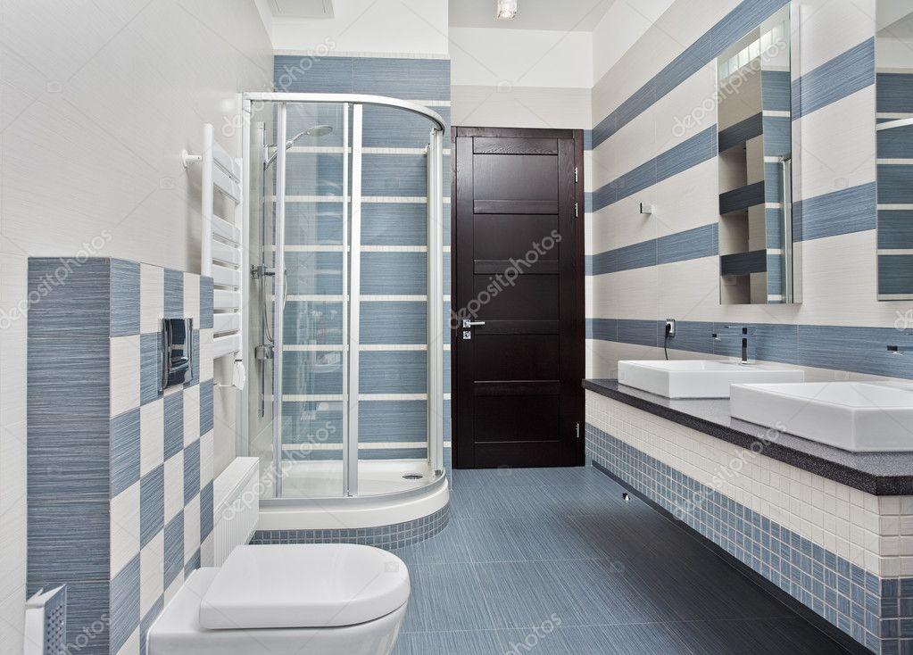 Bagno moderno in blu e grigio — foto stock © mrhamster #2189724
