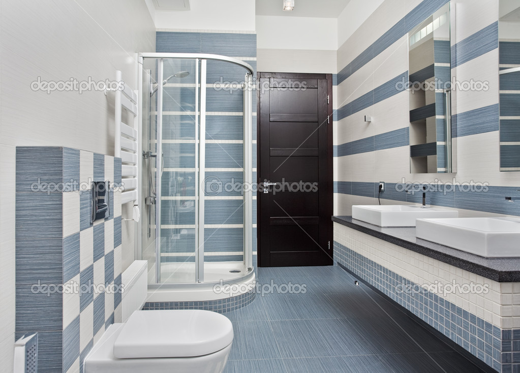 Modern bathroom in blue and gray stock photo mrhamster for Blue and grey bathroom
