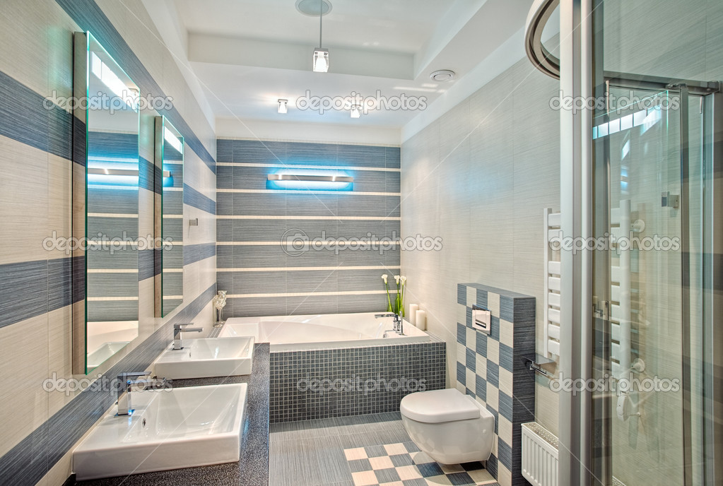 Salle de bains moderne en bleu et gris photographie for Salle de bain gris et bleu