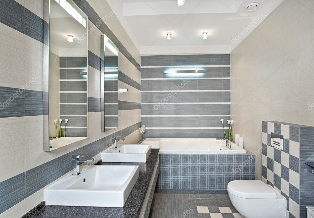 Modern bathroom in blue and gray tones with mosaic on wide angle view — Stock Photo #2189907