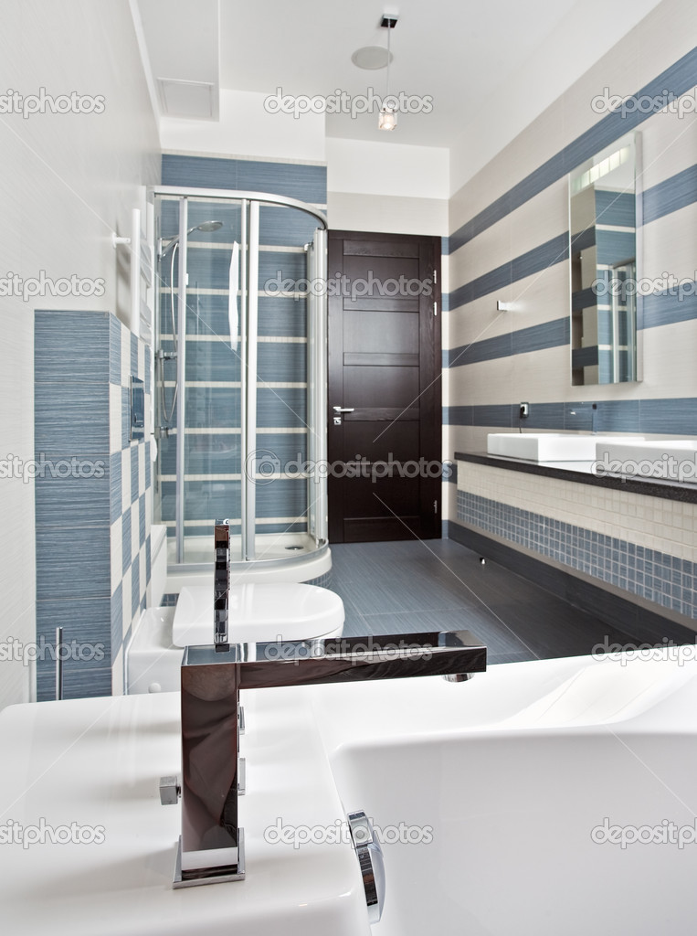 Modern bathroom in blue and gray tones with shower cubicle on wide angle view — Stock Photo #2189983