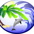 Sea background with palm and dolphin — Stock Vector