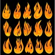 Stock Vector: Collection of vector fires.
