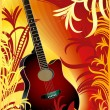 Acoustic guitar on floral background — Stock Vector