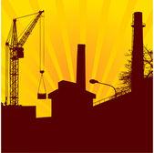 Urban construction with lifting crane — Stock Vector