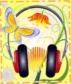 Słuchawki na tle kwiatów — Wektor stockowy