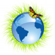 Royalty-Free Stock Imagen vectorial: Eco planet and butterfly