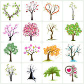 Big collection of abstract trees — Vector de stock