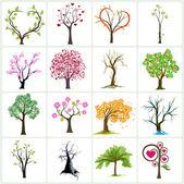 Duża kolekcja drzew streszczenie — Wektor stockowy
