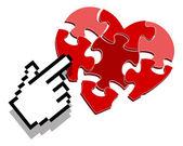 Internet love search symbol — Stock Vector