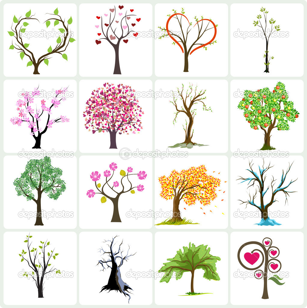 Big collection of abstract trees — Imagen vectorial #1142616