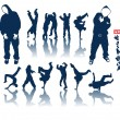 Hip-hop silhouette collection - Stock Vector