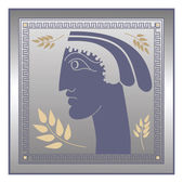 Greek profile on silver background — Stock Vector