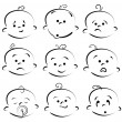 Cartoon face collection — Stock Vector