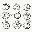 Doodle cartoon faces - Stock Vector