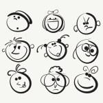 Doodle cartoon faces — Stock Vector