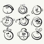 Doodle cartoon faces — Stock Vector
