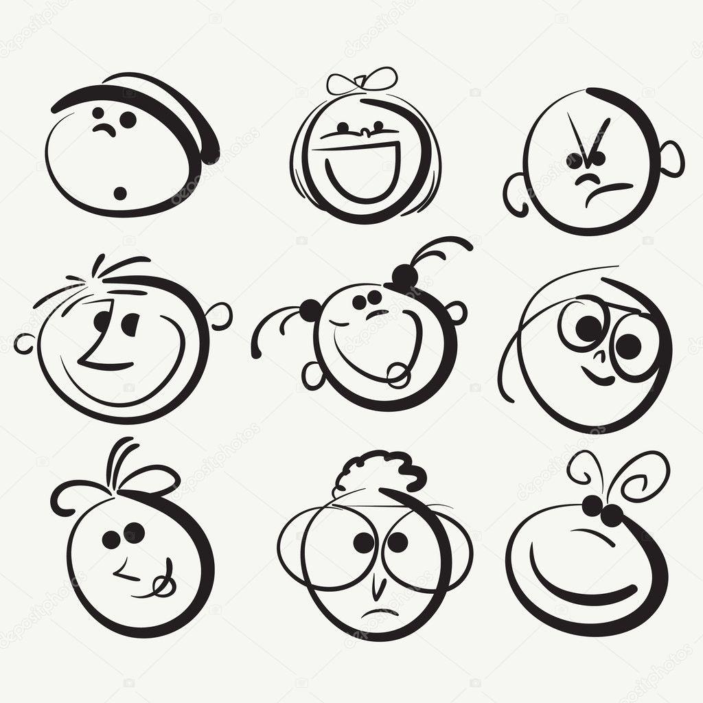 Doodle cartoon faces stock illustration