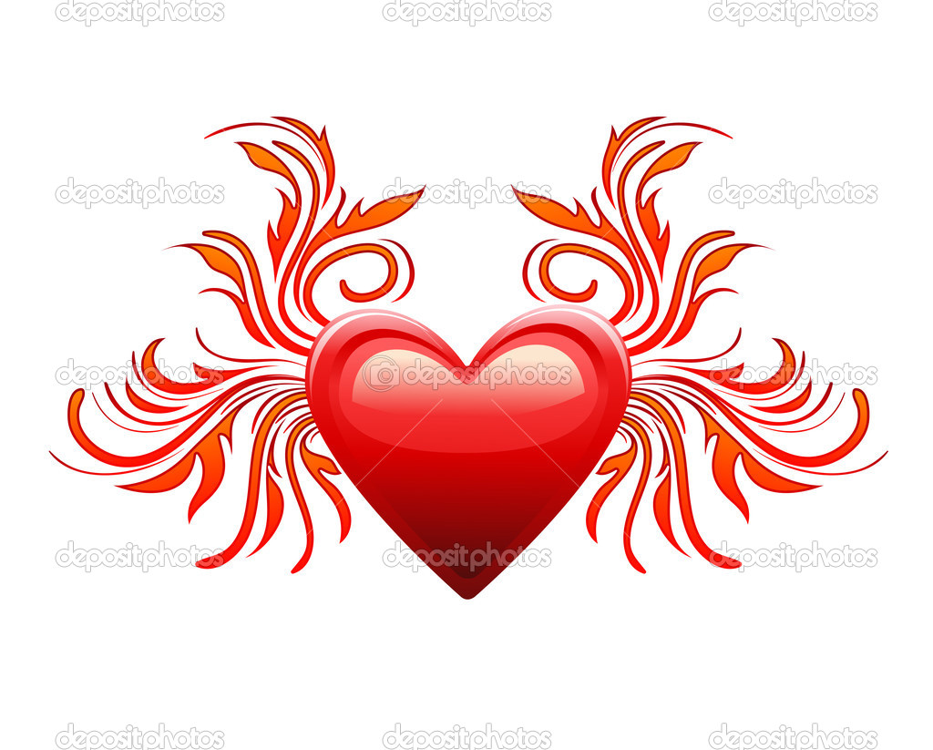 Red heart decoration element — Stock Vector #1517360