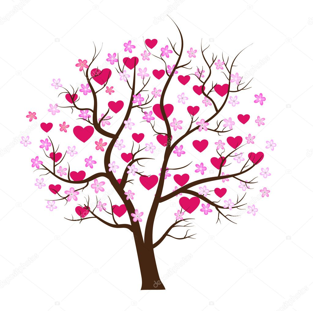 Valentine tree design vector illustration — Stock Vector #1556589