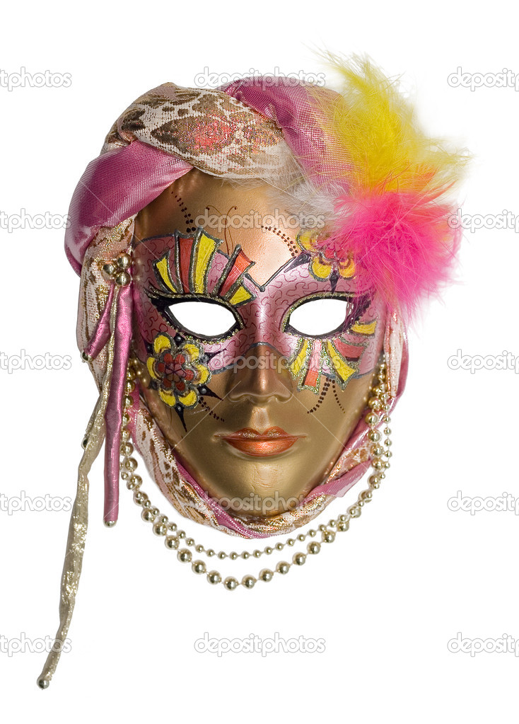 Venetian mask with jewelry and brilliants and pearls — Stock Photo #1061193