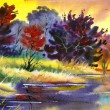 Stock Photo: Water colour landscape