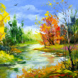 Autumn landscape with the wood river — Stock Photo