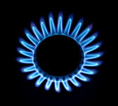 Blue fire of a gas cooker — Stock Photo