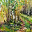 Birches in autumn wood — Stock Photo