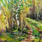 Birches in autumn wood — Stock Photo