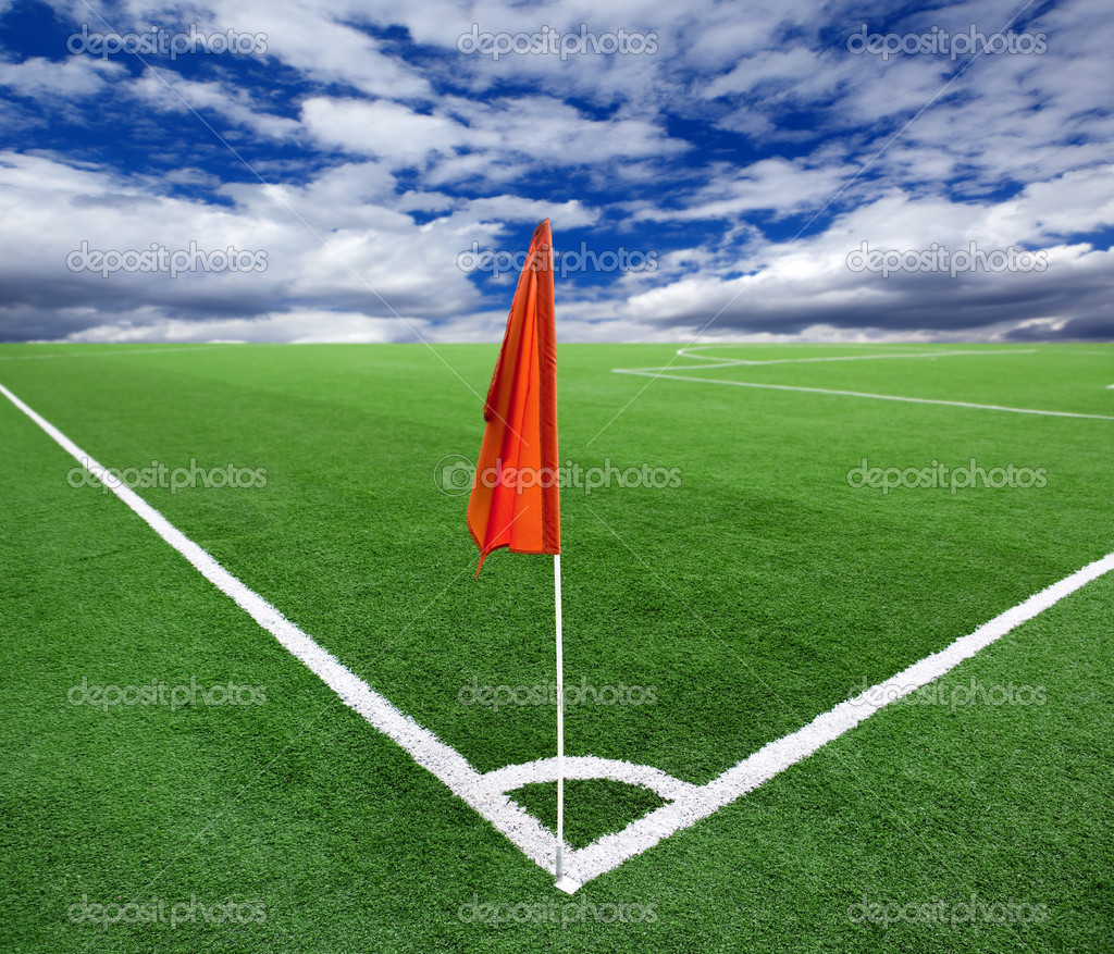 Red flag in a football ground corner — Stock Photo #1105242