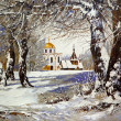Winter landscape with church in wood — Photo