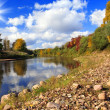 Autumn landscape with the river and wood — Stock Photo
