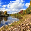 Stock Photo: Autumn landscape with the river and wood