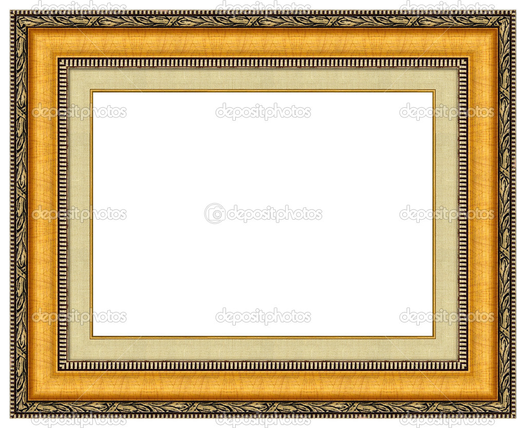 Oval gold picture frame with a decorative pattern — Stock Photo #1127594
