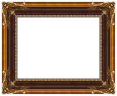 Oval gold picture frame — 图库照片